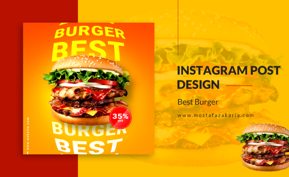 How To: Design Instagram Post for Best Burger with Photoshop